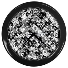 Black And White Patchwork Pattern Wall Clocks (black)