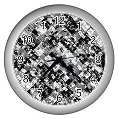 Black And White Patchwork Pattern Wall Clocks (silver)
