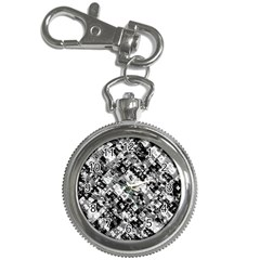 Black And White Patchwork Pattern Key Chain Watches