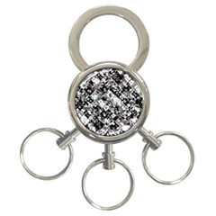 Black And White Patchwork Pattern 3 Ring Key Chains