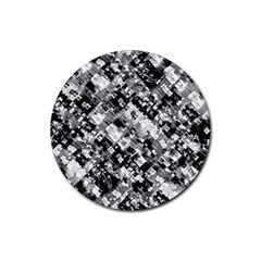 Black And White Patchwork Pattern Rubber Coaster (round)