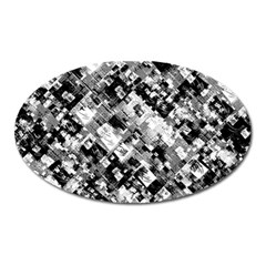 Black And White Patchwork Pattern Oval Magnet