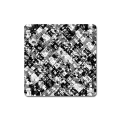 Black And White Patchwork Pattern Square Magnet