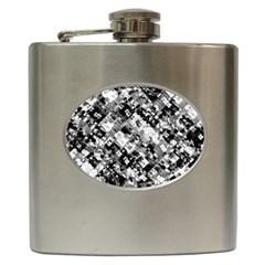 Black And White Patchwork Pattern Hip Flask (6 Oz)