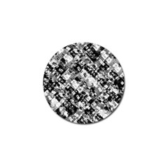 Black And White Patchwork Pattern Golf Ball Marker (4 Pack)