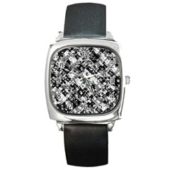 Black And White Patchwork Pattern Square Metal Watch