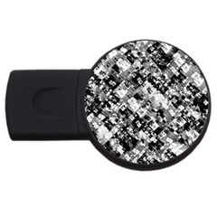 Black And White Patchwork Pattern Usb Flash Drive Round (4 Gb)
