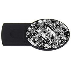 Black And White Patchwork Pattern Usb Flash Drive Oval (4 Gb)