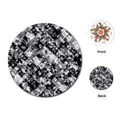 Black And White Patchwork Pattern Playing Cards (round)