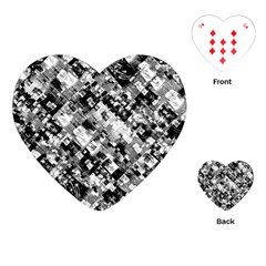 Black And White Patchwork Pattern Playing Cards (heart)