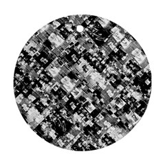 Black And White Patchwork Pattern Round Ornament (two Sides)