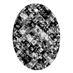 Black And White Patchwork Pattern Oval Ornament (two Sides)