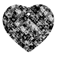 Black And White Patchwork Pattern Heart Ornament (two Sides)