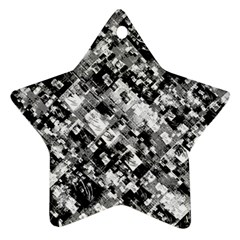 Black And White Patchwork Pattern Star Ornament (two Sides)