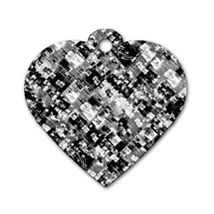 Black And White Patchwork Pattern Dog Tag Heart (one Side)