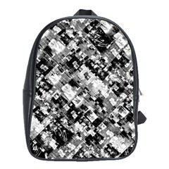 Black And White Patchwork Pattern School Bag (large)