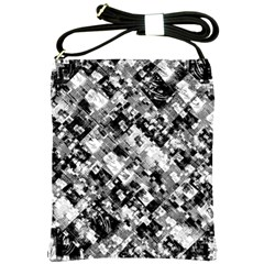 Black And White Patchwork Pattern Shoulder Sling Bags