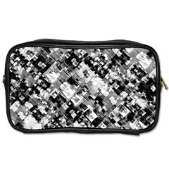 Black And White Patchwork Pattern Toiletries Bags 2 Side