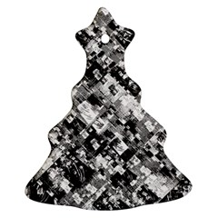 Black And White Patchwork Pattern Christmas Tree Ornament (two Sides)