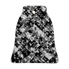 Black And White Patchwork Pattern Bell Ornament (two Sides)