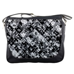 Black And White Patchwork Pattern Messenger Bags