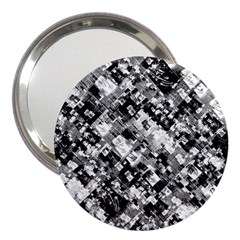 Black And White Patchwork Pattern 3  Handbag Mirrors