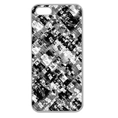 Black And White Patchwork Pattern Apple Seamless Iphone 5 Case (clear)