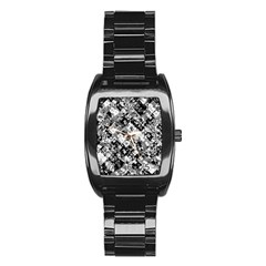 Black And White Patchwork Pattern Stainless Steel Barrel Watch