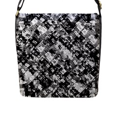 Black And White Patchwork Pattern Flap Messenger Bag (l)  by dflcprints