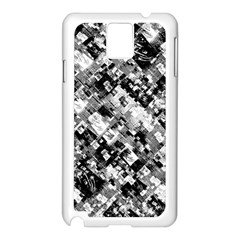 Black And White Patchwork Pattern Samsung Galaxy Note 3 N9005 Case (white)