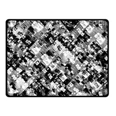 Black And White Patchwork Pattern Double Sided Fleece Blanket (small)
