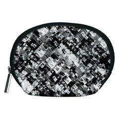 Black And White Patchwork Pattern Accessory Pouches (medium)