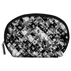 Black And White Patchwork Pattern Accessory Pouches (large)