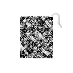 Black And White Patchwork Pattern Drawstring Pouches (small)