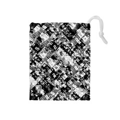 Black And White Patchwork Pattern Drawstring Pouches (medium)