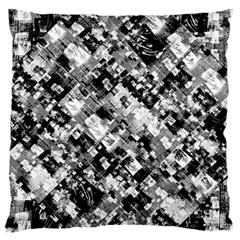 Black And White Patchwork Pattern Large Flano Cushion Case (two Sides)
