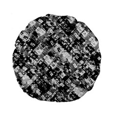 Black And White Patchwork Pattern Standard 15  Premium Flano Round Cushions