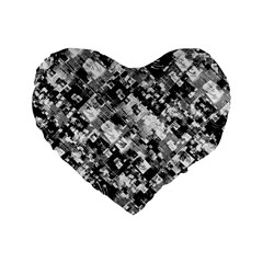 Black And White Patchwork Pattern Standard 16  Premium Flano Heart Shape Cushions