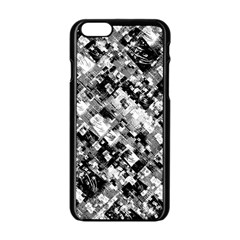 Black And White Patchwork Pattern Apple Iphone 6/6s Black Enamel Case