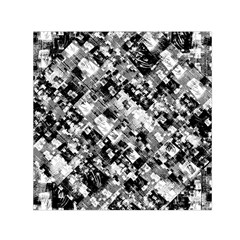 Black And White Patchwork Pattern Small Satin Scarf (square)