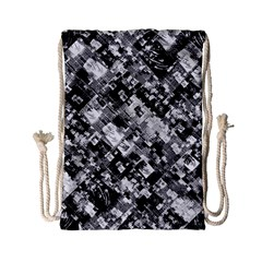 Black And White Patchwork Pattern Drawstring Bag (small)