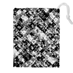 Black And White Patchwork Pattern Drawstring Pouches (xxl)
