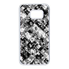 Black And White Patchwork Pattern Samsung Galaxy S7 White Seamless Case