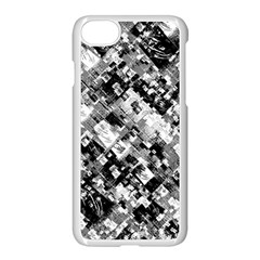 Black And White Patchwork Pattern Apple Iphone 7 Seamless Case (white)