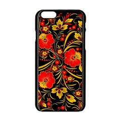 Native Russian Khokhloma Apple Iphone 6/6s Black Enamel Case