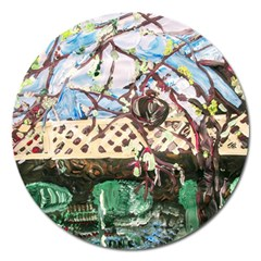 Blooming Tree 2 Magnet 5  (round) by bestdesignintheworld