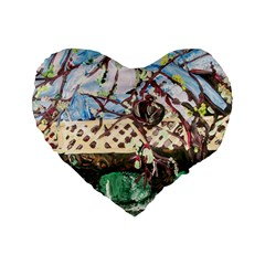 Blooming Tree 2 Standard 16  Premium Flano Heart Shape Cushions by bestdesignintheworld
