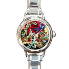 Blue Flamingoes 6 Round Italian Charm Watch by bestdesignintheworld