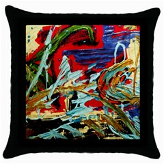 Blue Flamingoes 6 Throw Pillow Case (black)
