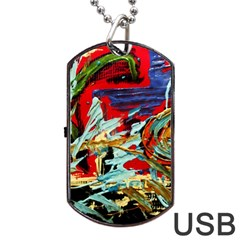 Blue Flamingoes 6 Dog Tag Usb Flash (two Sides) by bestdesignintheworld